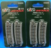 Lot Of 2 - N Scale Kato Unitrack 20-111 Curved Track R11 15° R282-15 - 4 Pieces