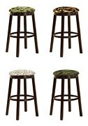 Bar Stool Espresso Wood 24 Or 29 Outdoor Fishing Fabric Covered Swivel Seat