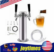 Stainless Steel Draft Beer Tower Kegerator System Double Tap Faucet Dia.3-inch