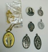 Antique Lot Of Misc Religious Items Medals Pendant Necklace