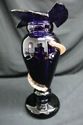 Blenko Cobalt Glass Bodice With A Swirling Lobe Form Of Copper Tone Vase 16andrdquo