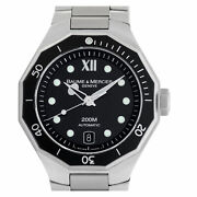 Baume And Mercier Riviera Moa08778 Stainless Steel Black Dial 40mm Automatic...