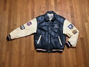 Vintage Disney New Millennium 2000 Leather Jacket With Patches Large
