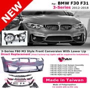 Front Bumper Performance Lip M3 Style For Bmw 12-18 3-series F30 F31 Fog Lamps