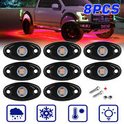 Red 8 Pods Led Rock Underbody Lights Crawlers For Jeep Offroad Truck Car Atv Utv