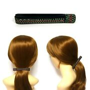Green Red Crystal Long Black Cellulose Hair Banana Clip Comb Ponytail Holder New