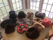 Lot Of Vintage Womenand039s Menand039s Hats Top Bowler Fur Fedora Beret