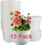 15 Pack Planters 6 Inch Plastic Plant Pots Indoor With Drainage Hole And Tray