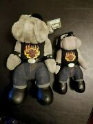 Vintage Harley Davidson Riding Bull Dogs 11 And 8 Plush Figures Motorcycle Toys