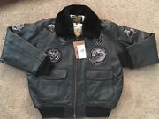 Mens Schott G1 Wings Of Gold Leather Bomber Jacket/ Size Xl-