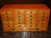 Antique Excellent Oak 21 Drawer Small Table Top Jewelers Case Cabinet----15578