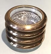 4 Vintage Antique Park Sherman Silver Plate Crystal Cut Dish Plates Coasters Old