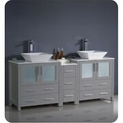 Fresca Torino 72 Gray Modern Double Sink Bathroom Cabinets W/ Tops And Vessel ...