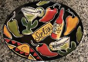 Clay Art Salsa Oval Serving Platter Hand Painted Mexican Party Fiesta