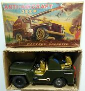 Vintage Large Tin Toy Anti Aircraft Jeep T.n Nomura Japan 1950s Boxed