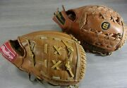 Vintage 80and039s Rawlings R Henderson Wilson K Gibson Youth Size Baseball Gloves Rh