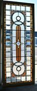 Antique Victorian Transom Window Beveled Stained Ripple Glass With Jewels