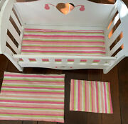 """Vintage Doll Crib White Pink Antique Convertible Bed Wood Wooden 20""""x11.5"""""""