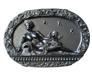 Large Vintage Italian High Relief Carved Black Marble Medallion Wall Hanging