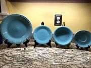 Fiesta Fiestaware Dinnerware Lot Of Four - Turquoise Plates Bowl And Saucer
