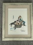 Norman Rockwell Hand-signed Offset Lithograph Matted/framed