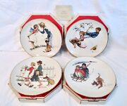 New Set Of 4 Norman Rockwell Four Seasons 1972 Ltd Ed 10.75 Plates Young Love