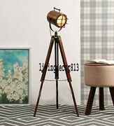 New Antique Designer Wood Search Light Nautical Floor Lamp With Tripod Stand