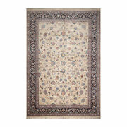 10'9'' X 15'7'' Rare Romanian Vintage Hand Knotted Wool Kashaan Area Rug Cream