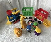 Vtg 1991 Fisher Price Little People Chunky Circus Train Set Giraffe Lion +extras