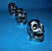 🔥 Laughing Skull Air Cleaners Tri Power 3x2 Aluminum Polished Flat Head Chevy