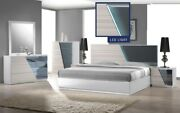 White And Gray Contemporary Bedroom Furniture California/ Eastern King Size Bed