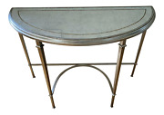 Lillian August Wrought Iron And Glass Demilune Console Tab