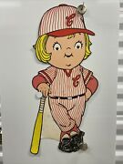 """Campbell Soup Kids Baseball Player Litho Cut Out 24"""" By 11"""" Vintage S-10380"""