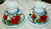 Pair Vtg 14andrdquo Wide / 9-1/2andrdquo Fitter Hand Painted Red Peony Hurricane Lamp Shades