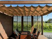 Tailor Made Waterproof Sun Shade Sail Horizontal Roman Blind Rolled, Extended,