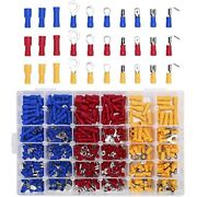 480pcs Insulated Electrical Wire Connectors Terminals Crimp Spade Ring Butt Kit