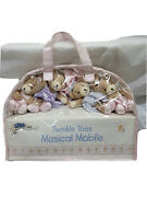 Bedtime Originals Twinkle Toes Musical Baby Crib Mobile - Pink Gray Bears 🐻