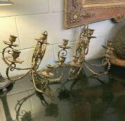 Rare Set Of 2 Harvin Brass Sand Cast 5 Arm Wall Candle Holder Sconces Excellent