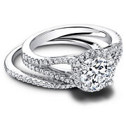 1.00 Carat New Real Diamond Wedding Band Sets 18k Solid White Gold Size M N O P