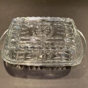 Vintage Clear Cut Glass Anchor Hocking Butter Or Cheese Dish Ship Wheel Logo