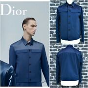 Ultrarare And Great Dior Homme Ss14 Runaway Prussian Blue Wool Cropped Jacket