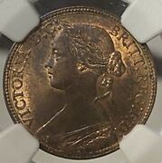 Great Britain Farthing 1860 Beaded Borders - Ngc Ms 64 Rb Mint Error Rotated Die