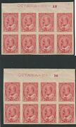 Canada 1903 Kevii 2c Carmine Imperf Plate 13 And 14 Blocks 90a Vf Mnh