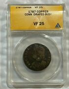 1787 Copper Connecticut Colonial Draped Bust Anacs Vf 25