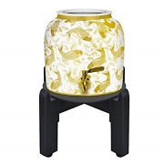 Geo Sports Porcelain Crock Water Dispenser Shiny Series W/ 8 Inch Wood Stand,