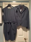 New 14 Brooks Brothers Jacket Slit Shoulder Tie Dress Suit Tollegno Italy Wool