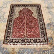 Yilong 2.7x4and039 Handknotted Silk Classic Carpet Vintage Indoor Red Area Rug H016a