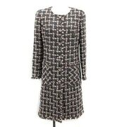 Rene Tissue Coat Outer Tweed Long No Color Check 34 Xs Gray Pink /kh Women And039s