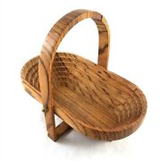 Folding Spiral Collapsible Wooden Farmhouse Basket Trivet Bowl Country Style