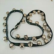 Sleigh Bells Brass With Black Leather Strap 30 Bells Riveted / Buckle 88 Strap